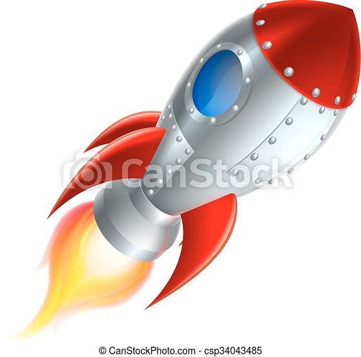 scheeps , spotprent, raket, ruimte - csp34043485