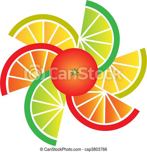 scheiben, orange, zitrone, pampelmuse, limette - csp3803766