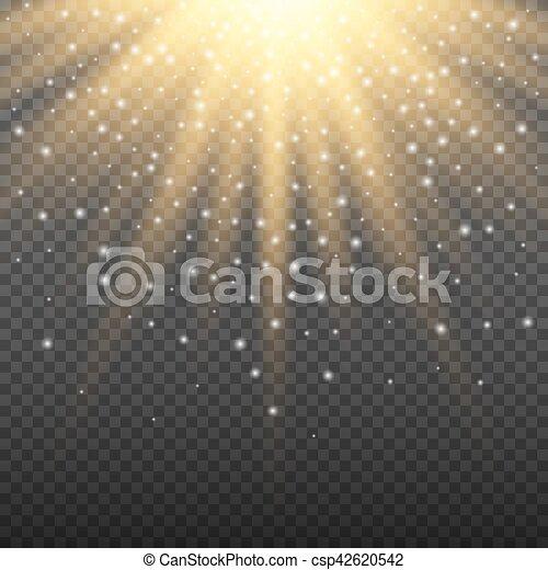 Goldglühende Lichtexplosion auf transparentem Hintergrund. Helle Leuchteffekt-Dekoration mit Strahlfunkeln. Transparente glänzende Oberfläche. Vector Lichteffekt - csp42620542