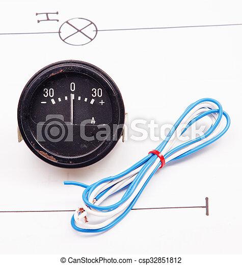 Schema, draht, hintergrund, elektrisch, amperemeter Stockfotografie ...