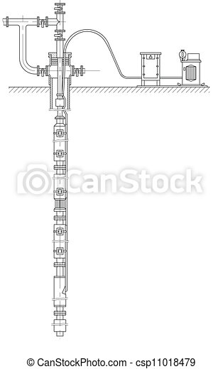 Sketch. schematic of an oil well. eps 10. on blowout preventer, oil platform, oil well liner, oil well casing, directional drilling, oil well parts, oil well christmas tree, oil well 3d, oil well drilling, drilling rig, oil well architecture, oil well features, oil well icon, drilling fluid, oil well engineering, drill bit, oil well hardware, submersible pump, oil well description, oil well diagram, oil well project, oil well chart, oil well model, oil well drawing, well drilling, oil well choke, offshore drilling, oil well packer, oil well head equipment, christmas tree,