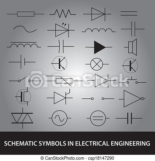 Schematic symbols in electrical engineering icon set eps10 eps