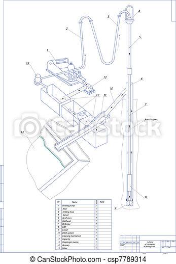 Scheme Of Circulation Of Drilling Fluid Vector Illustration