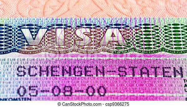 Schengen visa in passport. Fragment - csp9366275