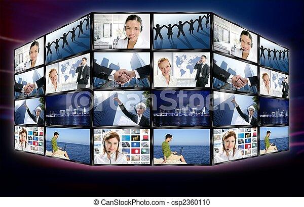 schermo tv, parete, video, digitale, notizie, futuristico - csp2360110