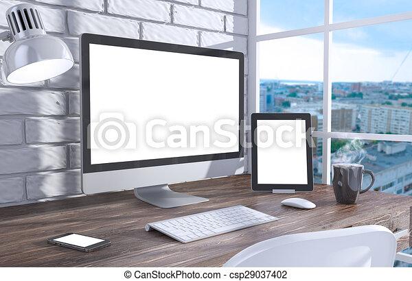 Schermo ufficio illustrazione pc workspace tavola 3d - Tavola grafica per pc ...