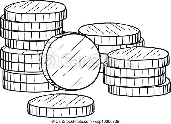 schets, muntjes, stapel - csp10380709