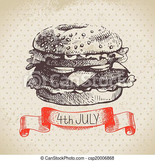 schets, ouderwetse , hand, achtergrond., 4, ontwerp, getrokken, juli, amerika, dag, onafhankelijkheid - csp20006868