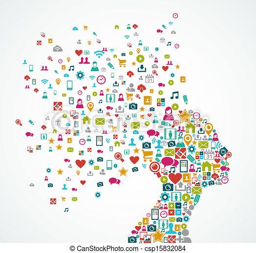 Frau Head Silhouette mit sozialen Medien Icons splash Concept Illustration. EPS10 Vektordatei organisiert in Ebenen für einfache Bearbeitung. - csp15832084