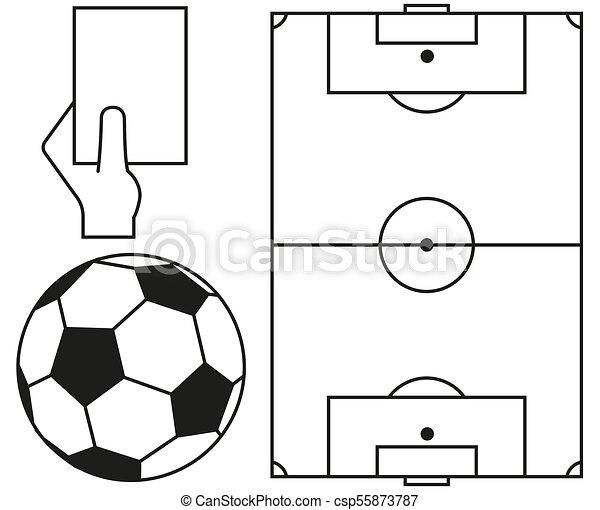 Schiedsrichter Kunst Set Feld Linie Fussball Ball Karte Ikone