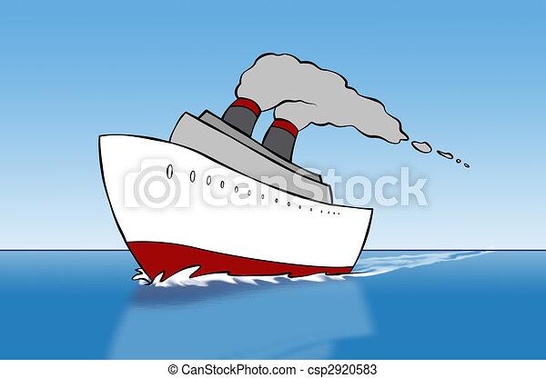 Schiff karikatur segelt rn sea ausflugsdampfer rge ffnete karikatur heraus - Mes del crucero ...