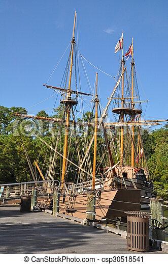 Repliken von Kolonialschiffen in der Siedlung Jamestown in Virginia - csp30518541