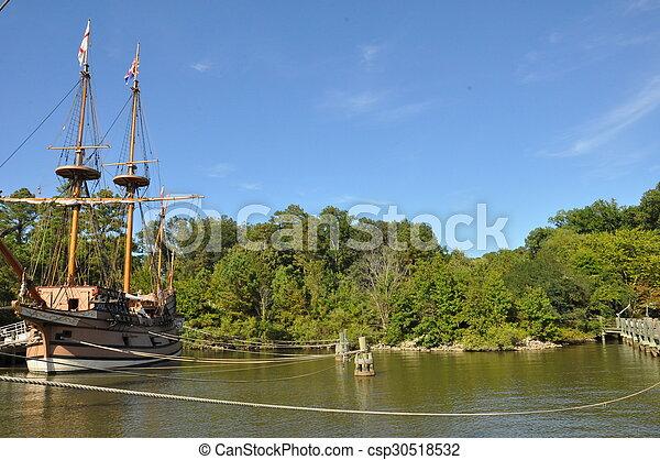 schiffe, virginia, colonial-era, reproduktion, jamestown, vergleich - csp30518532