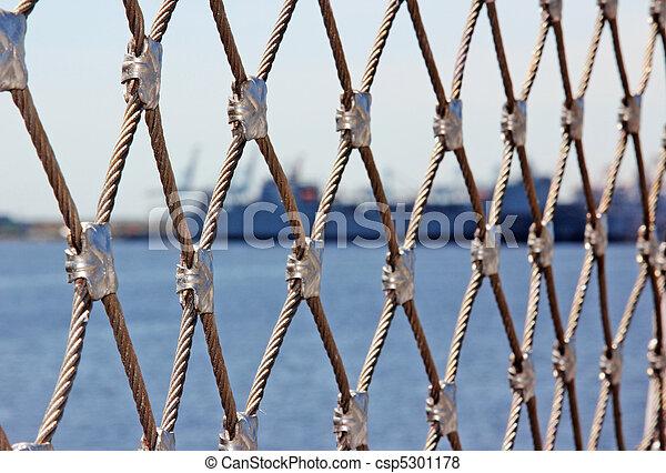 Schifffahrt Zaun Draht Sicherheit Zaun Bild Verwischt Ship