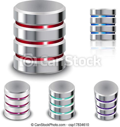 schijf, set, hard, pictogram, databank - csp17834610
