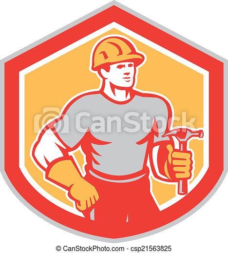 schild, aannemer, timmerman, retro, vasthouden, hamer - csp21563825