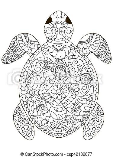 schildpad, kleuren, zee, volwassenen, vector - csp42182877