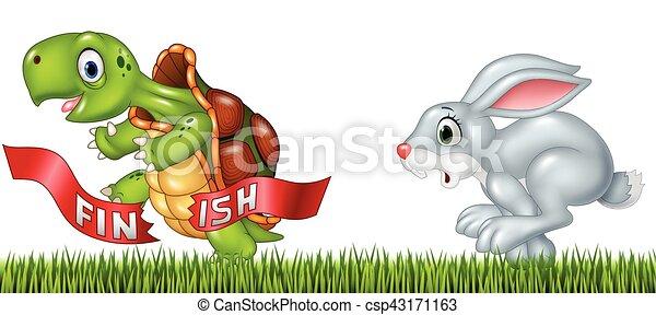 schildpad, winnen, tegen, spotprent, hardloop, konijntje - csp43171163