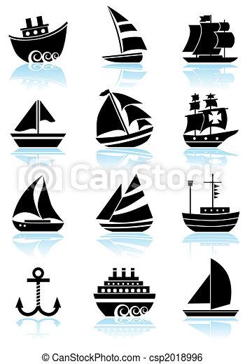schip, nautisch, set, black , pictogram - csp2018996