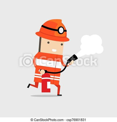 schiuma, extinguisher., fuoco, spruzzare, pompiere - csp76901831