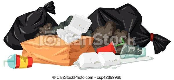 schiuma, mucchio, rifiuti, plastica - csp42899968