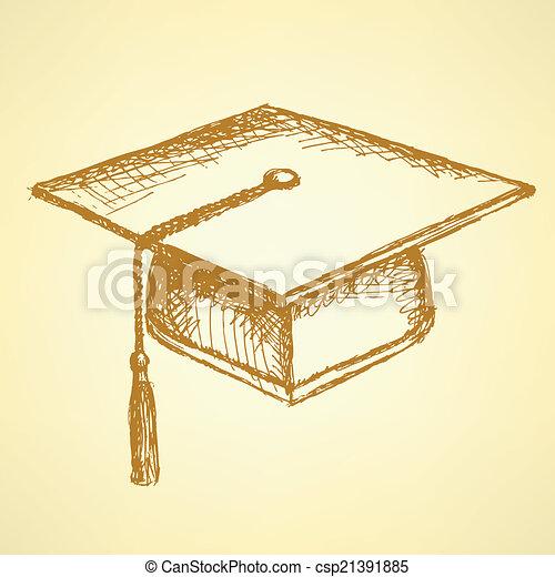 schizzo, berretto, graduazione - csp21391885