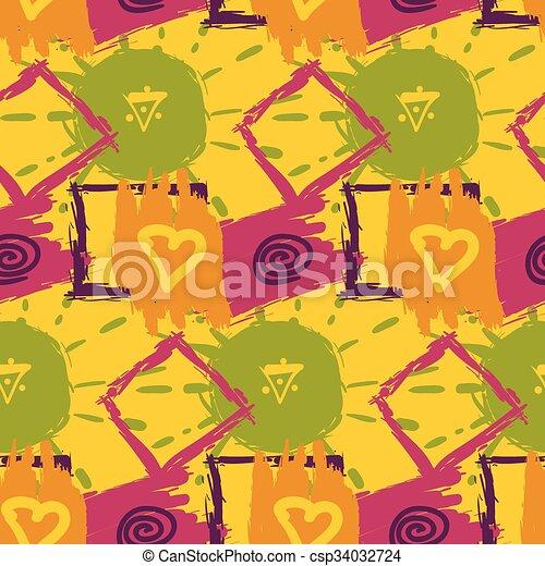schizzo, colorito, modello, astratto, seamless, tessile, disegno - csp34032724
