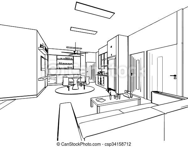 Schizzo contorno casa prospettiva interno disegno for Disegno casa interno