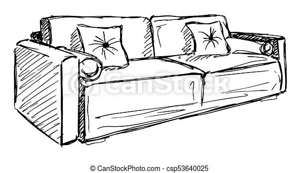 Schizzo divano isolato illustrazione fondo vettore for Divano disegno