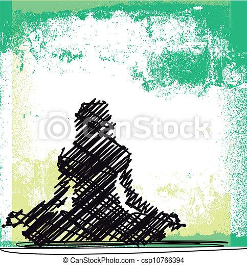 schizzo, donna, astratto, yoga., meditare, illustrazione, vettore - csp10766394