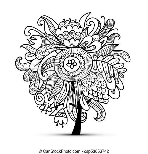 schizzo, magia, albero, disegno, floreale, tuo - csp53853742