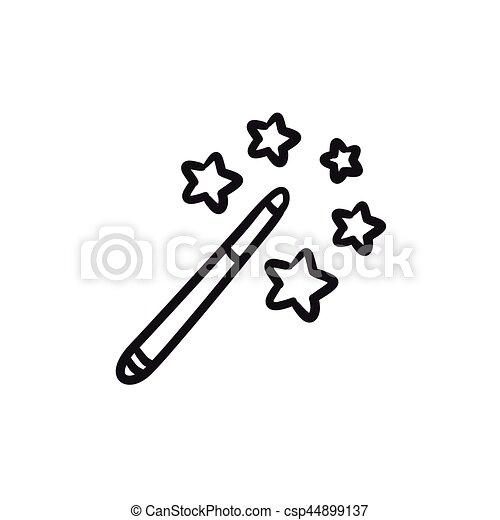 schizzo, magia, icon., bacchetta - csp44899137