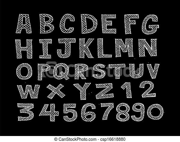 schizzo, mano, disegno, dra, linea, font - csp16618880