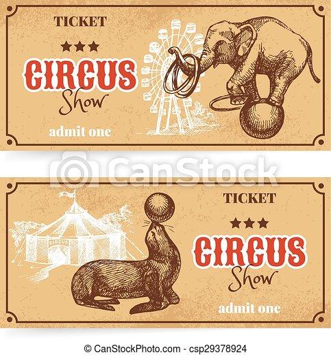 schizzo, mostra, vendemmia, set., circo, mano, vettore, disegnato, biglietto - csp29378924