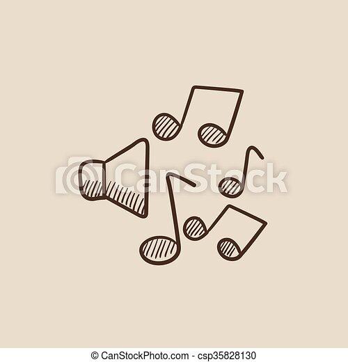 schizzo, note musica, icon., altoparlanti - csp35828130