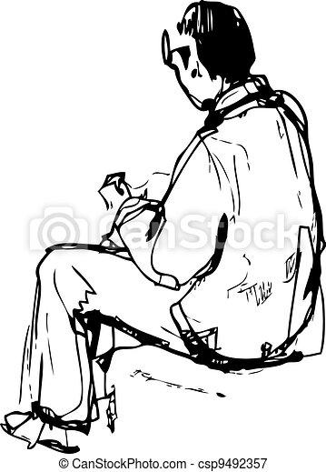 schizzo, sedere, giovane, mani - csp9492357