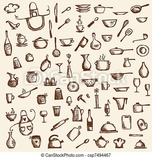 schizzo, utensili, tuo, disegno, disegno, cucina - csp7494467