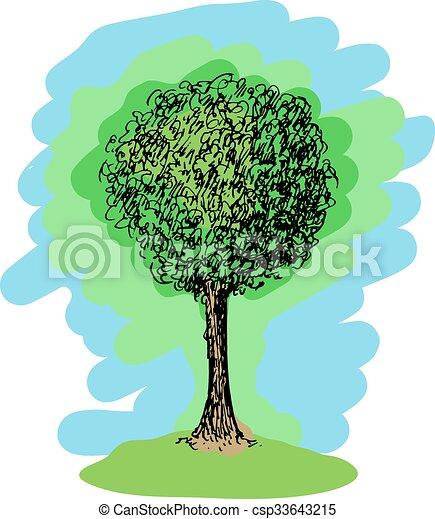 schizzo, vettore, albero, colorito - csp33643215