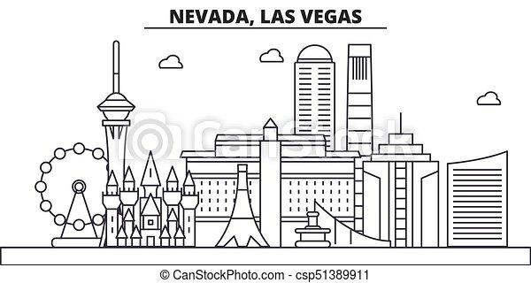 Nevada, las vegas architecture line skyline Illustration. Lineares Vektorstadtbild mit berühmten Sehenswürdigkeiten, Sehenswürdigkeiten der Stadt, Design Ikonen. Landscape wtih editierbare Striche - csp51389911