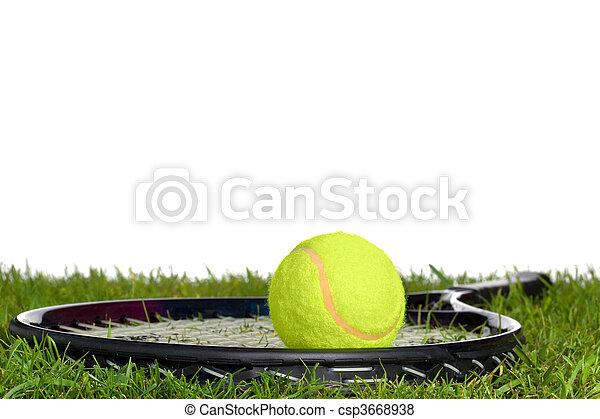 schläger, tennisball, gras - csp3668938