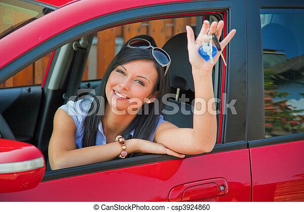 schlüssel, auto frau, neu  - csp3924860