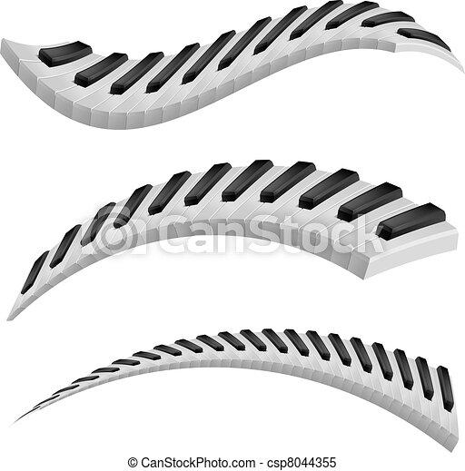 schlüssel, klavier, wellig, abbildung - csp8044355