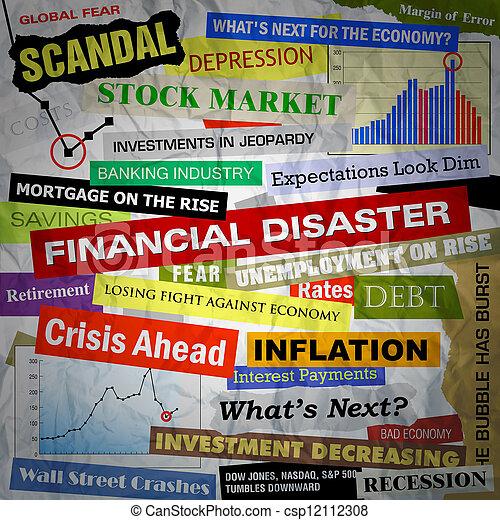 schlagzeilen, finanziell, katastrophe, geschaeftswelt - csp12112308