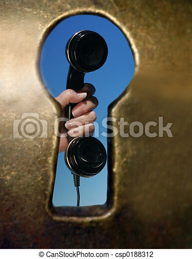 schluesselloch, telefon - csp0188312