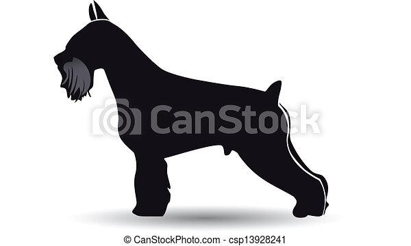 Schnauzer dog silhouette vector - csp13928241