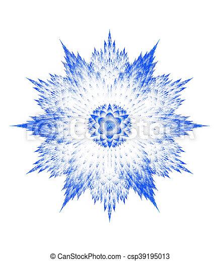 schneeflocke, weißes, fractal, hintergrund - csp39195013