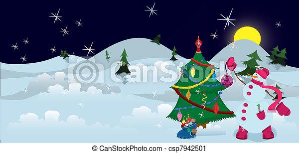 Schneemann banner dekorieren baum weihnachten schneemann baum nacht dekorieren weihnachten - Baum dekorieren ...