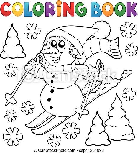 Schneemann, färbung, 1, thema, buch, ski fahrend.... EPS Vektoren ...