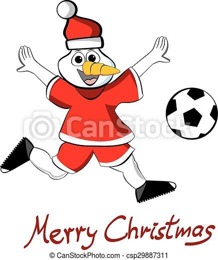 Schneemann Fussball Weihnachten Frohlich Schneemann
