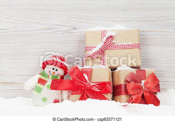 schneemann, kästen, spielzeug, weihnachtsgeschenk - csp63371121